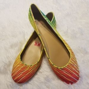 Rainbow tropical ballet flats